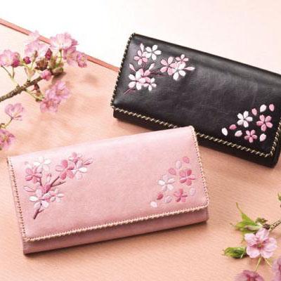 桜刺繍 長財布