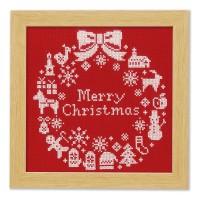 オリムパス クリスマス クロスステッチししゅうキット クリスマスリース X-100・レッド