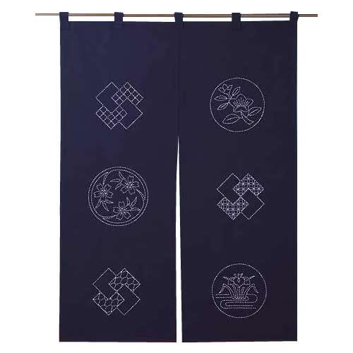 218 刺し子キット のれん 花紋