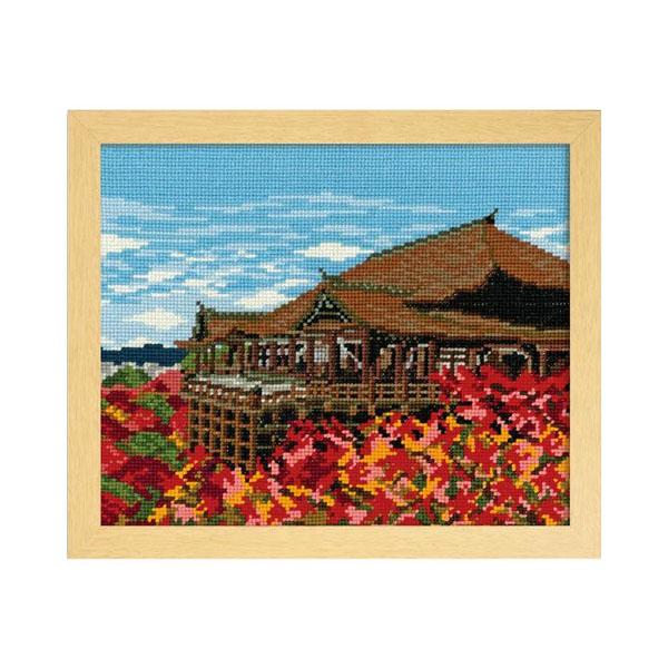 オリムパス ししゅうキット 四季を彩る「日本の名所」紅葉と清水寺 7461(ベージュ)