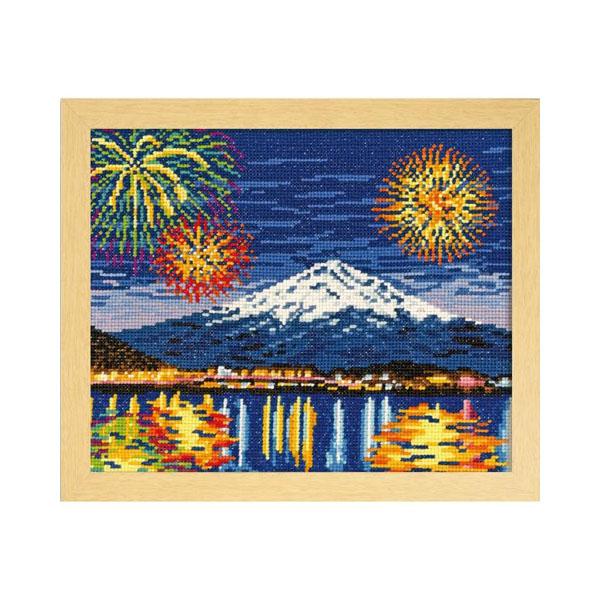 オリムパス ししゅうキット 四季を彩る「日本の名所」河口湖冬花火と富士山 7462(ベージュ)
