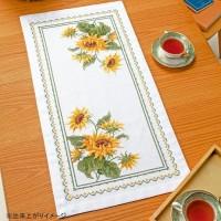 オリムパス クロス・ステッチししゅうキット 美しい花たち テーブルセンター サンフラワー 1196(白)