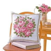 オリムパス クロス・ステッチししゅうキット 美しい花たち クッション スウィートローズ 6054(白)