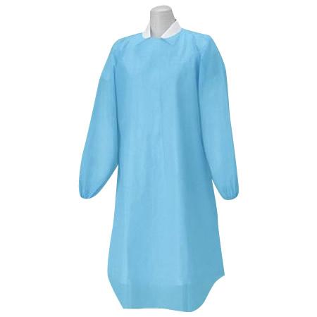 ハクゾウメディカル プラスチックガウン 袖付ディスポーザブルエプロン ゴム袖タイプ フリーサイズ 12枚入 3087539