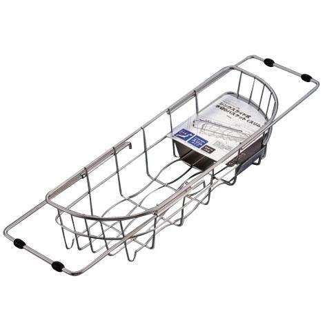 パール金属 H-5645 デュアリス 18-8ステンレス製シンクスライド式水切りバスケット(スリム)