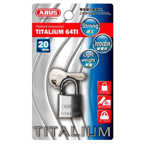 ABUS(アバス) TITALIUM南京錠 20mm 3本キー BP64TI20KD 00721285