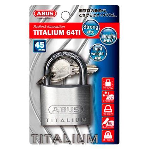 ABUS(アバス) TITALIUM南京錠 45mm 3本キー BP64TI45KD 00721290