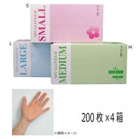 ファーストレイト 薄型プラスチックグローブ NPVグローブα(粉なし) 200枚×4箱 S・FR-5115