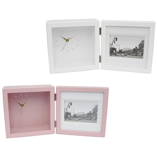 国内メーカームーブメント使用 デコフレーム 木製 時計付き写真立て ピクチャークロック S  タイプ1 WH・ホワイト・FC-449