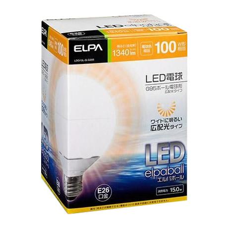 ELPA(エルパ) LED電球 G95ボール球形 電球色 広配光 LDG15L-G-G205 1773900