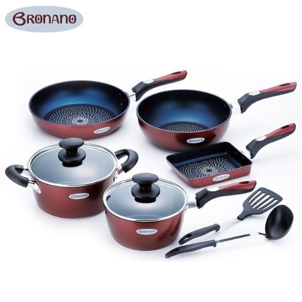 BRONANO(ブラナーノ) IH対応 鍋&フライパン 5点セット (お玉・ターナー付) BM-9532