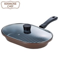 MARRONE CHEF(マローネシェフ) ガス火専用 ガラス蓋付お手軽魚焼パン 22×32cm MM-9541