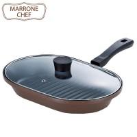 MARRONE CHEF(マローネシェフ) IH対応 ガラス蓋付お手軽魚焼パン 22×32cm MM-9542