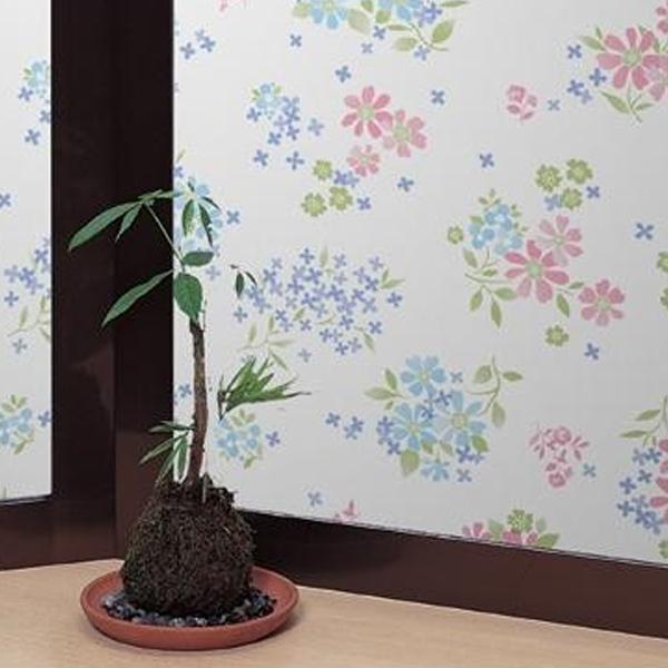 飛散防止効果のある窓飾りシート 大革命アルファ 46cm丈×90cm巻 ピンク花柄(P) GH-4609