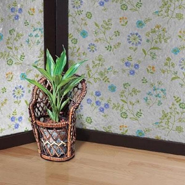 飛散防止効果のある窓飾りシート 大革命アルファ 92cm丈×90cm巻 ブルー花柄(B) GHS-9201