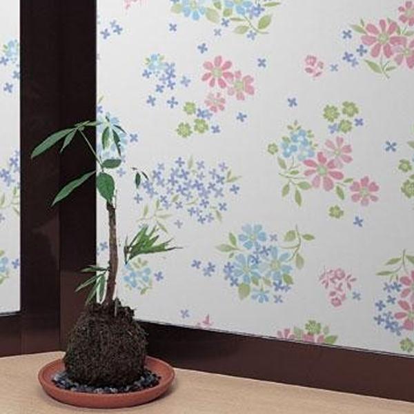 飛散防止効果のある窓飾りシート 大革命アルファ 92cm丈×90cm巻 ピンク花柄(P) GH-9209