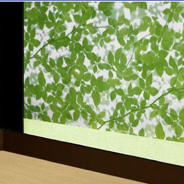 結露防滴窓貼りシート 滴なし 90cm×90cm巻 リーフ柄 グリーン(GR) KBM-9001