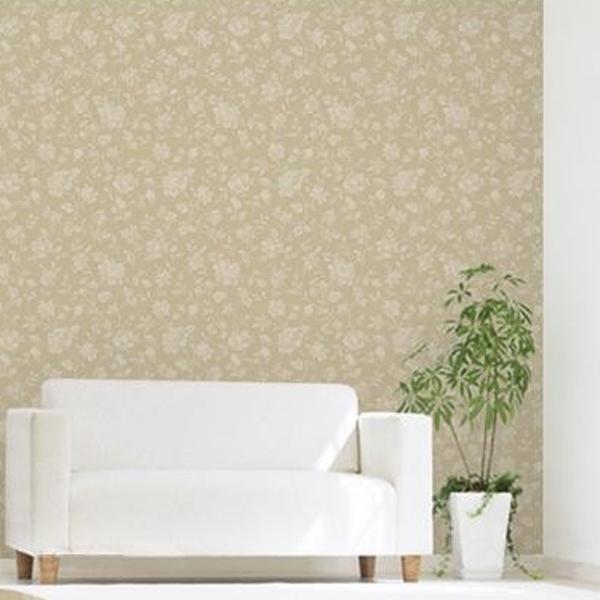 のり残りなし!アクセント壁紙 幅92×高さ250cm 花柄 ベージュ(BE) WAP-507