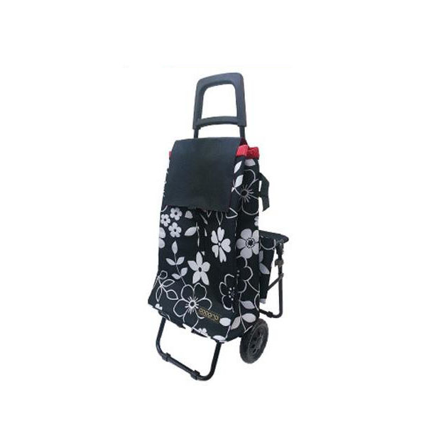 co coro コ・コロ  No.0889 FLOWER(フラワー) カートチェア 折りたたみ椅子付ショッピングカート 保温・保冷機能付 BLACK(ブラック)・439104