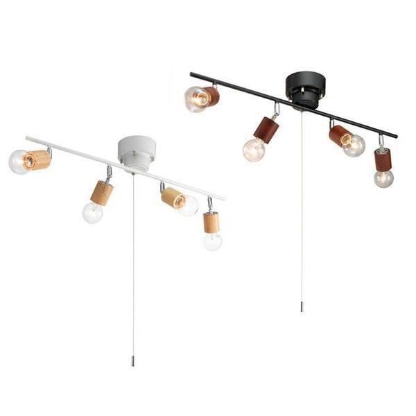 YAZAWA(ヤザワコーポレーション) ウッドヌードシーリングライト 4灯 電球なし ダークウッド・Y07CEX60X01DW