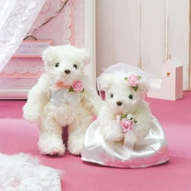 パナミ ウェディング 天使のホワイトベア ピンク 作品(完成品) TW-1
