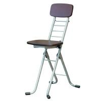 ルネセイコウ リリィチェアM(折りたたみ椅子) ダークブラウン/シルバー 日本製 完成品 CSM-320TAD