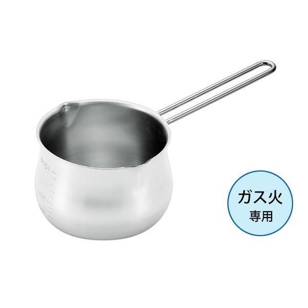 ガス火専用 18-8ステンレスミルクパン1000ml(目盛付) 28039-05