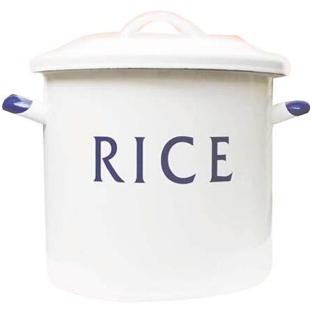 リリーホワイト ホーローライス缶「RICE」 9L (計量カップ・シール蓋付き) E-011-BL