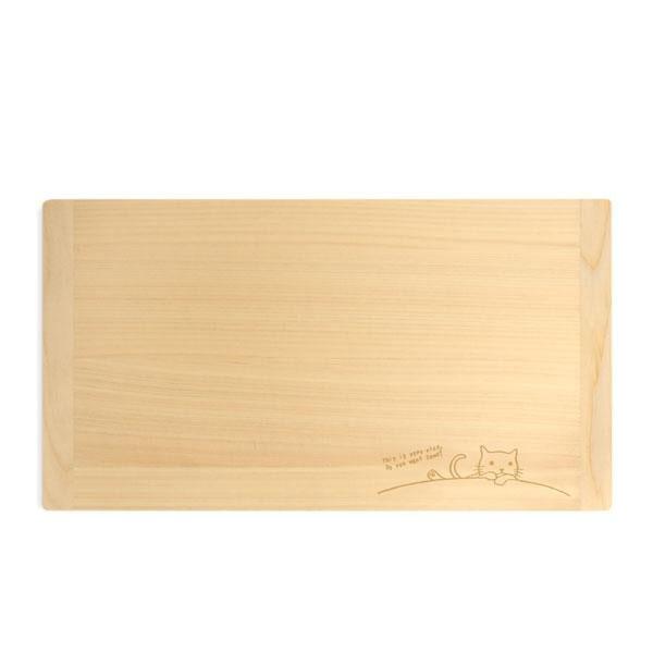 mere pere(メルペール) ネコ柄 国産ヒノキまな板 36×20cm 770-320