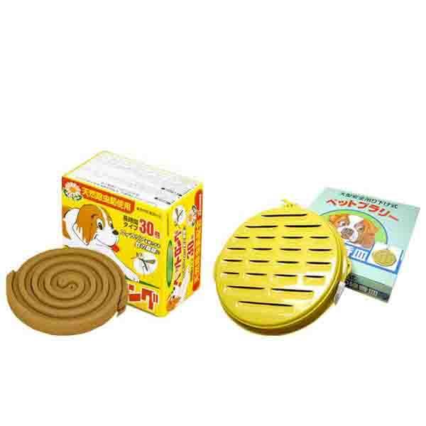 天然除虫菊 ペット用防虫線香セットB (ペットロング30巻 3個&大型ペット用ブラリー皿 1個)