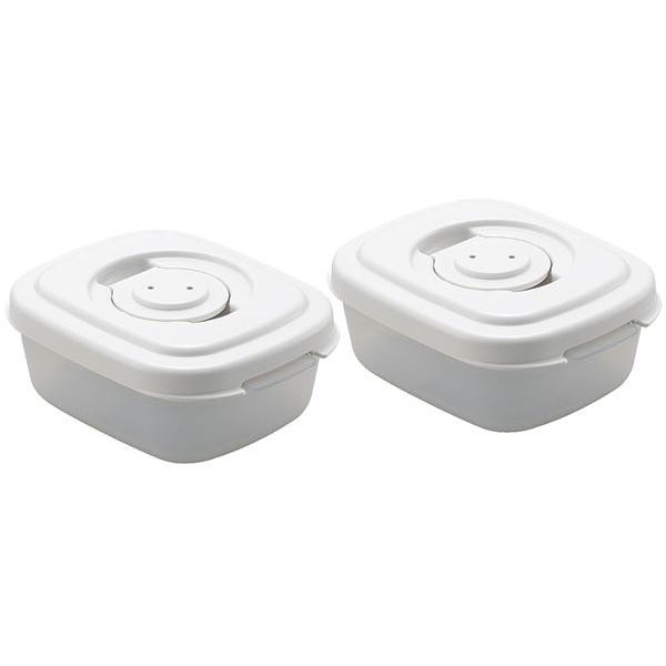 真空調理器 真空ストッカー エアレス 専用真空プラスチック容器(スクエア) 小 ×2個セット