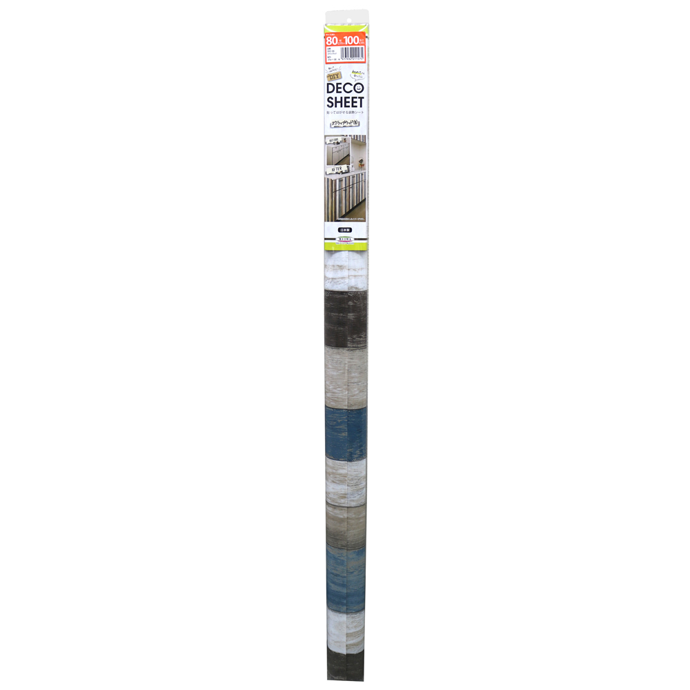DECO SHEET 貼ってはがせる装飾シート 80cm×100cm スクラップウッド柄 DEC-06 B・ブルー