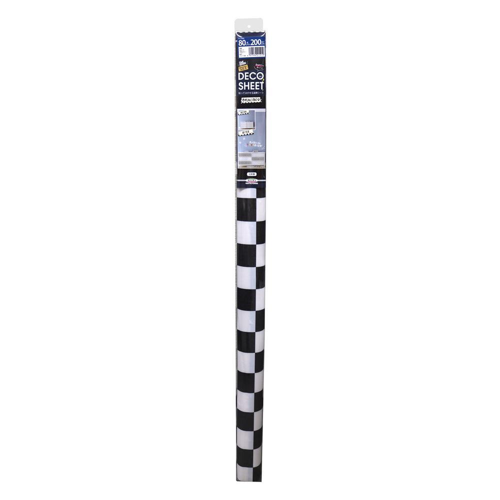 DECO SHEET 貼ってはがせる装飾シート 80cm×200cm 市松ネコ柄 DEC-11 BK・ブラック