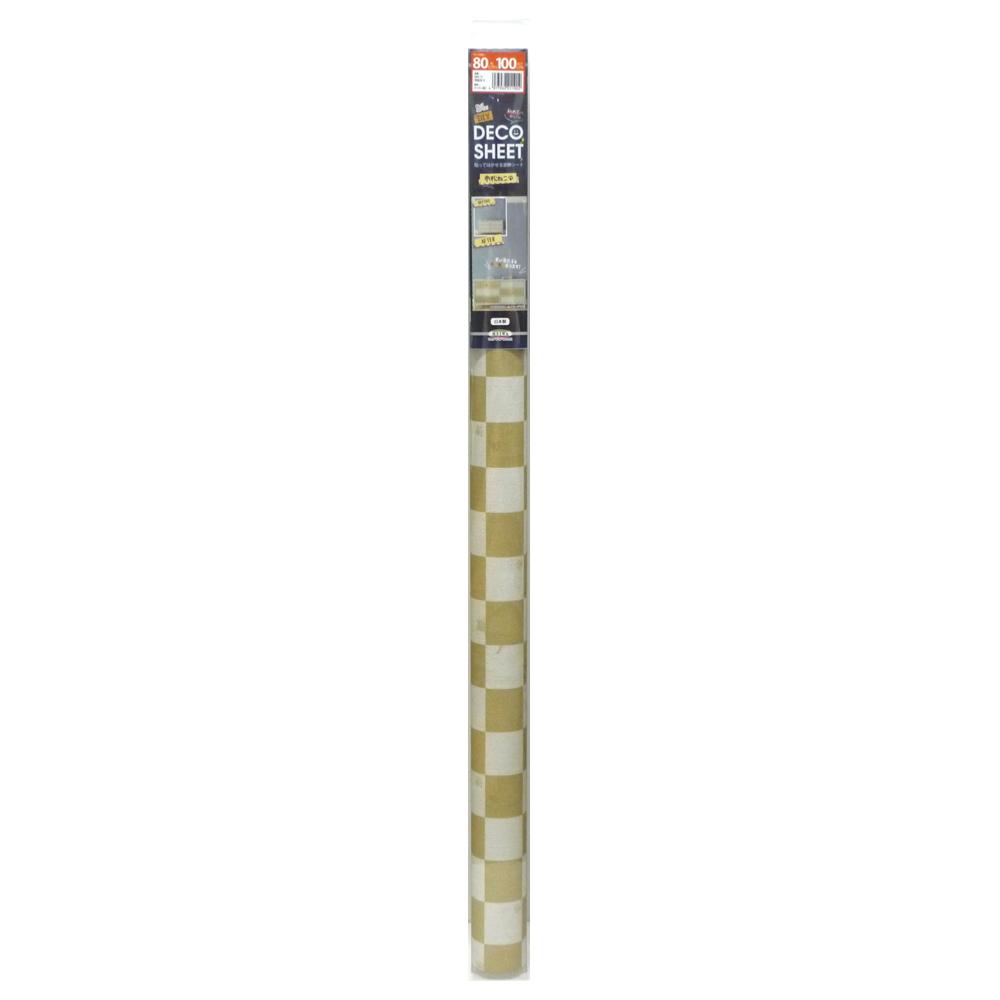 DECO SHEET 貼ってはがせる装飾シート 80cm×100cm 市松ネコ柄 DEC-11 BE・ベージュ