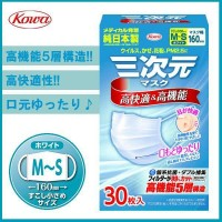 興和(コーワ) 三次元マスク すこし小さめ MSサイズ ホワイト 30枚入