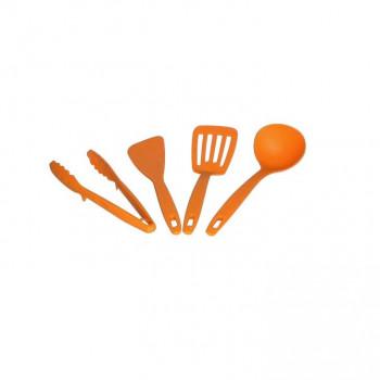 食洗機対応! キッチンツールセット 4PC(お玉・ターナー・ヘラ・万能トング) オレンジ・KT-4OR