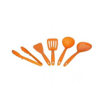 食洗機対応! キッチンツールセット 5PC(お玉・ターナー・ヘラ・万能トング・メッシュスプーン) オレンジ・KT-5OR