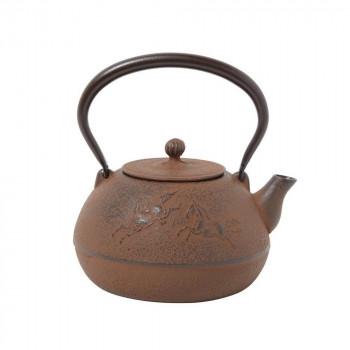 南部鉄器 宝生堂 鉄瓶(鉄蓋) 平成丸馬肌(錆色) 1L 700106