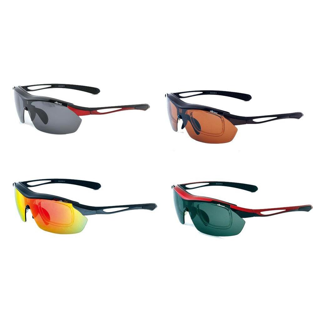 ellesse エレッセ レンズ交換式1眼タイプ スポーツサングラス ES-S108 ブラック×レッド