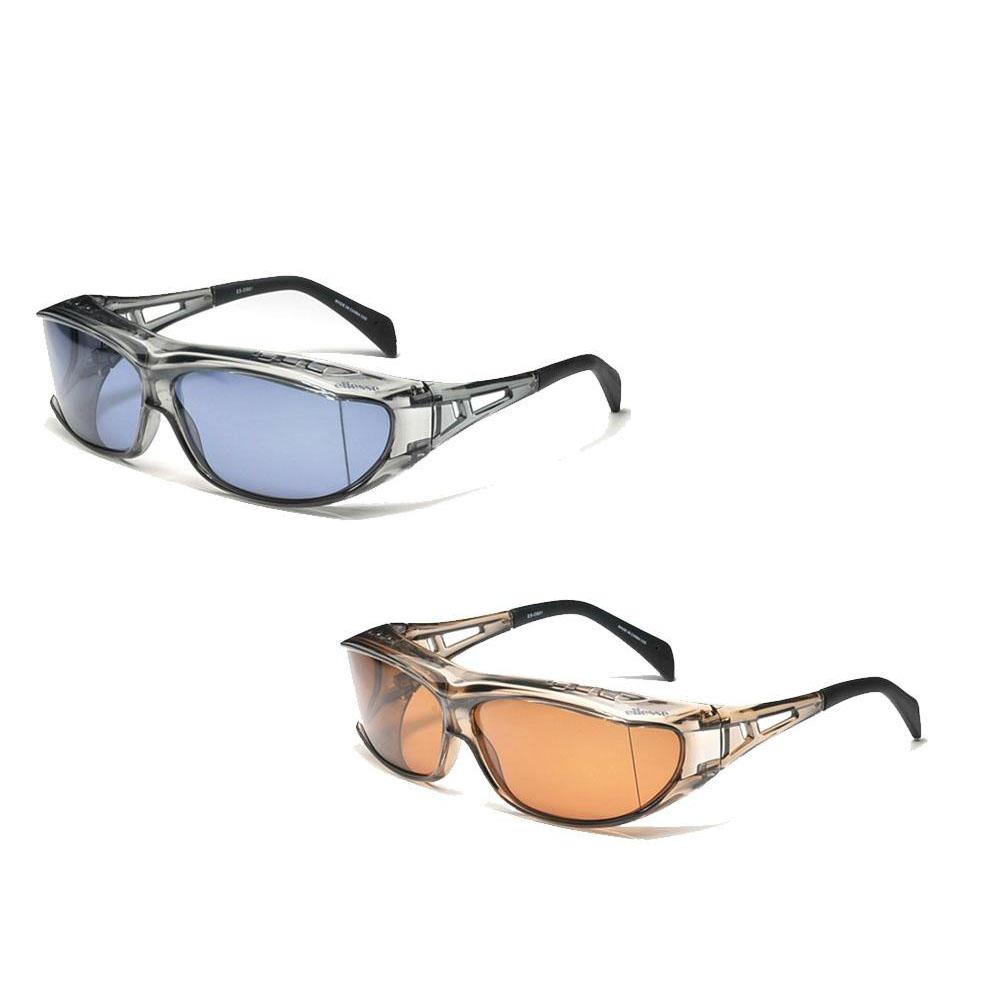 ellesse エレッセ メガネの上からかけられるオーバーサングラスLサイズ ES-OS01 F・スモーク×L・偏光スモーク