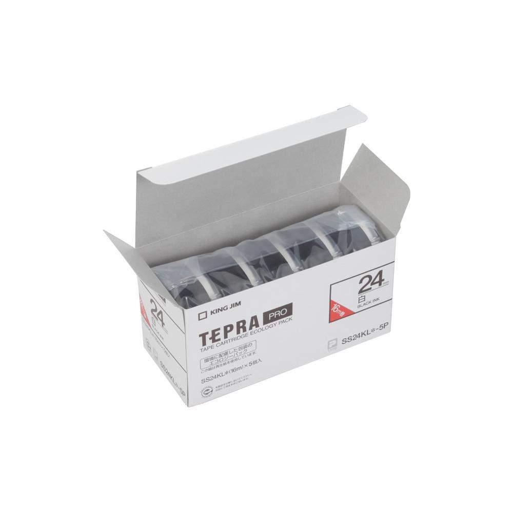 KING JIM(キングジム) 「テプラ」PROテープエコパック(5個入り) 白ラベル ロングタイプ/黒文字 幅24mm SS24KL-5P
