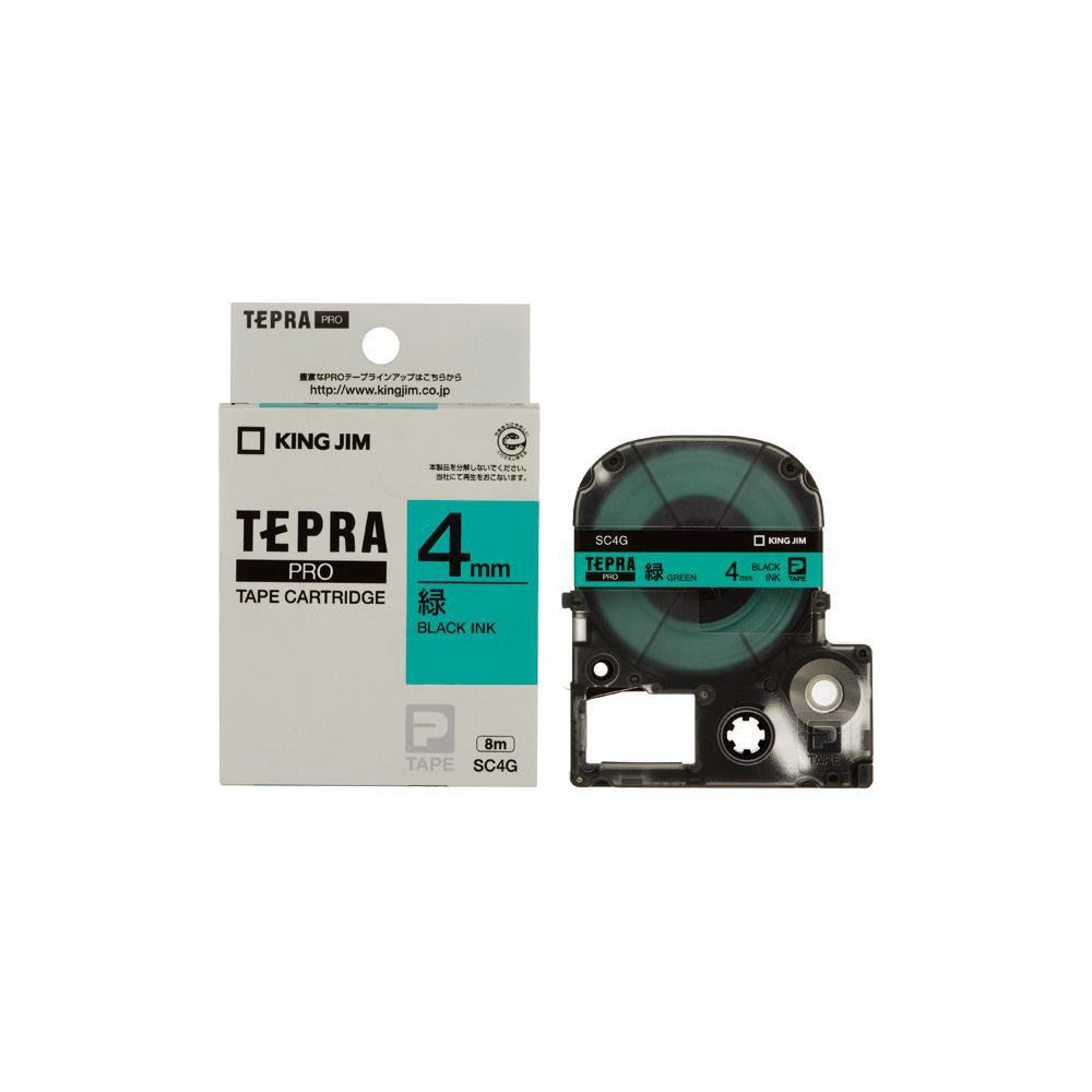 KING JIM(キングジム) 「テプラ」PROテープカートリッジ カラーラベル(パステル) 緑/黒文字 幅4mm SC4G 5個セット