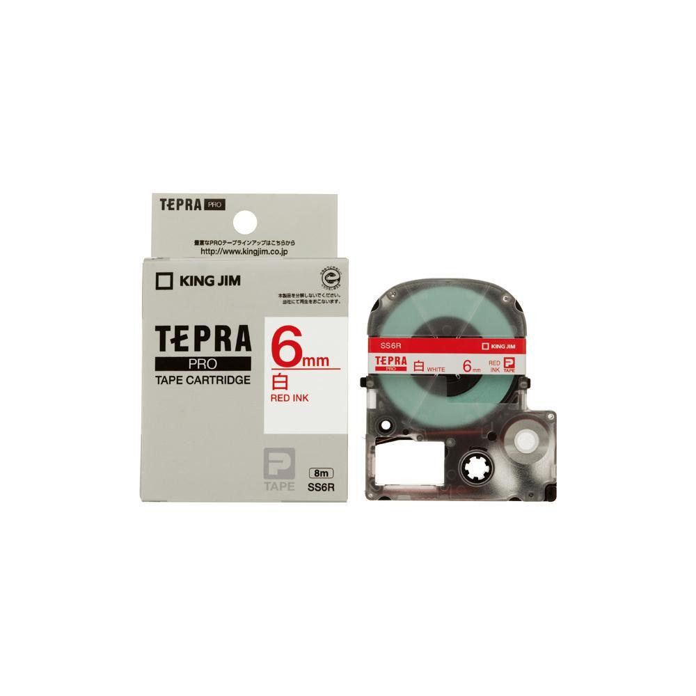 KING JIM(キングジム) 「テプラ」PROテープカートリッジ 白ラベル 白/赤文字 幅6mm SS6R 5個セット