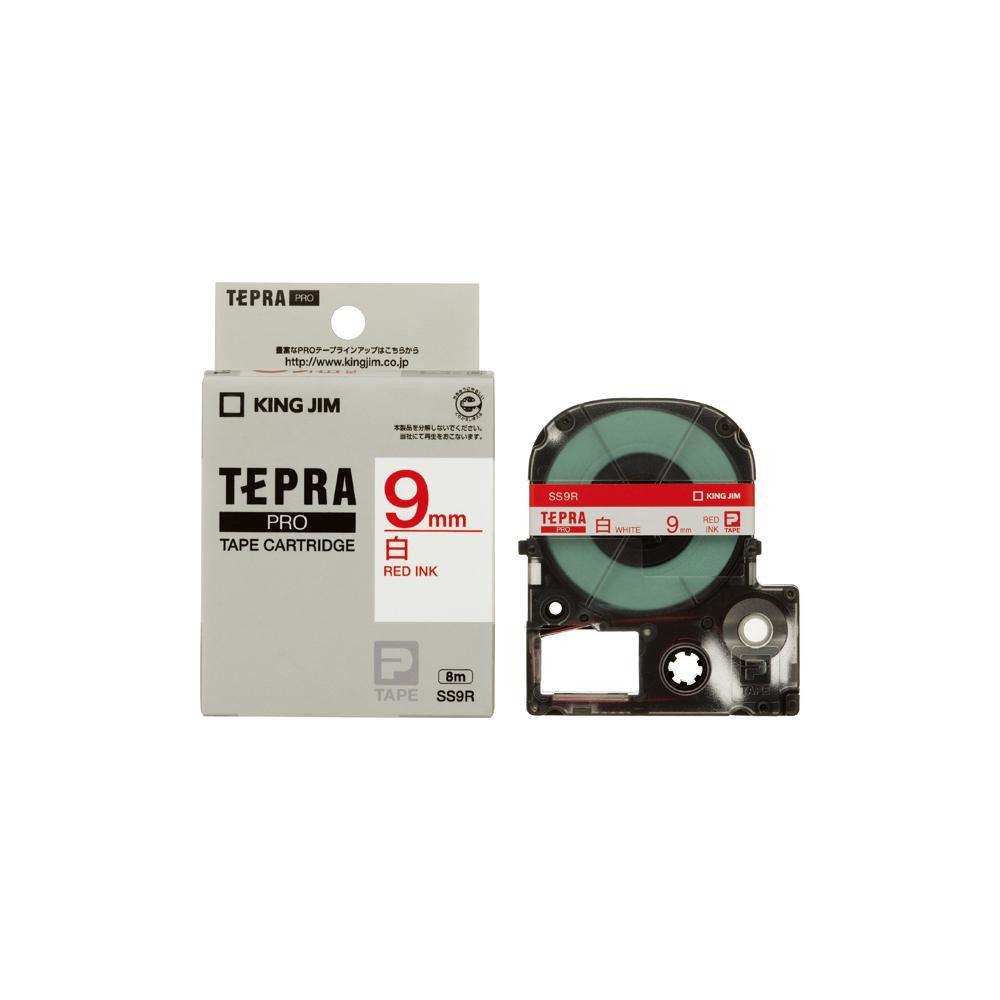 KING JIM(キングジム) 「テプラ」PROテープカートリッジ 白ラベル 白/赤文字 幅9mm SS9R 5個セット