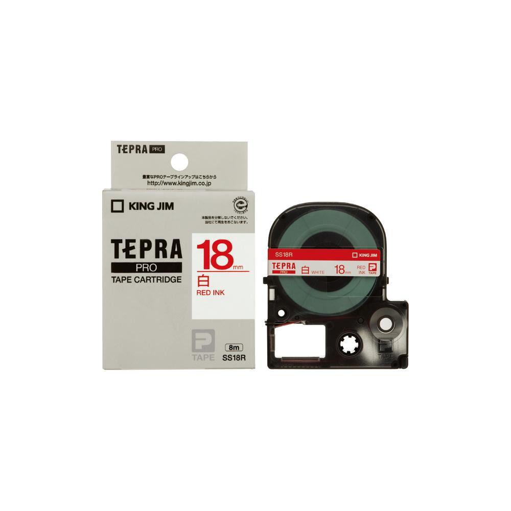 KING JIM(キングジム) 「テプラ」PROテープカートリッジ 白ラベル 白/赤文字 幅18mm SS18R 5個セット