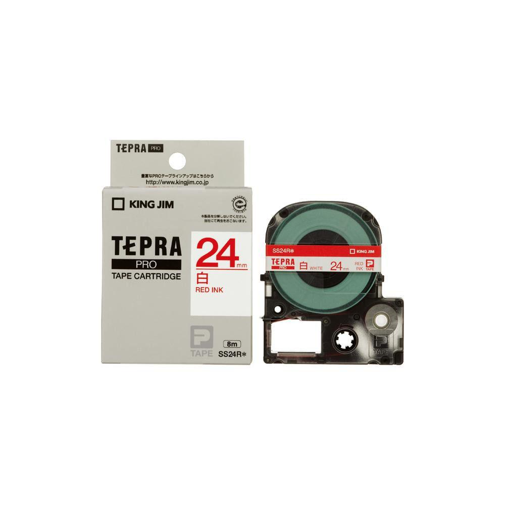 KING JIM(キングジム) 「テプラ」PROテープカートリッジ 白ラベル 白/赤文字 幅24mm SS24R 5個セット