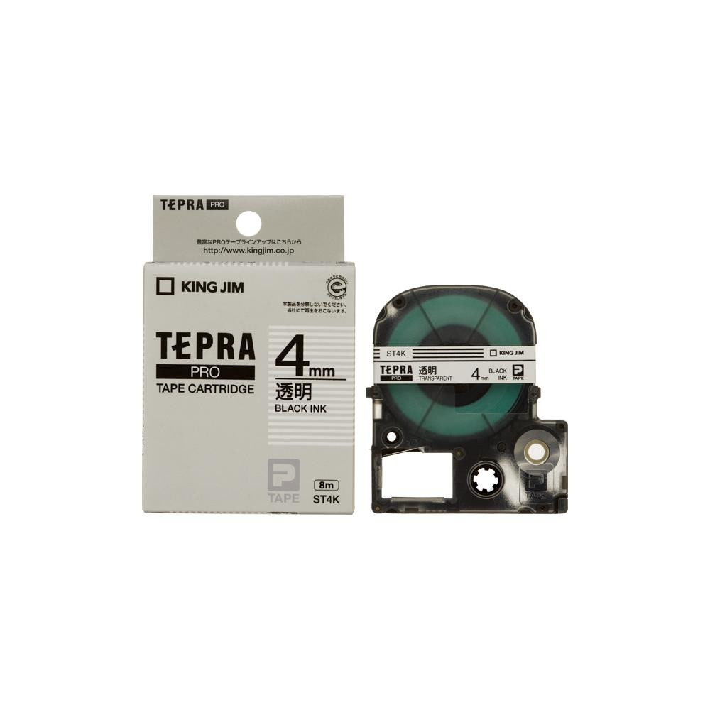 KING JIM(キングジム) 「テプラ」PROテープカートリッジ 透明ラベル 透明/黒文字 幅4mm ST4K 5個セット