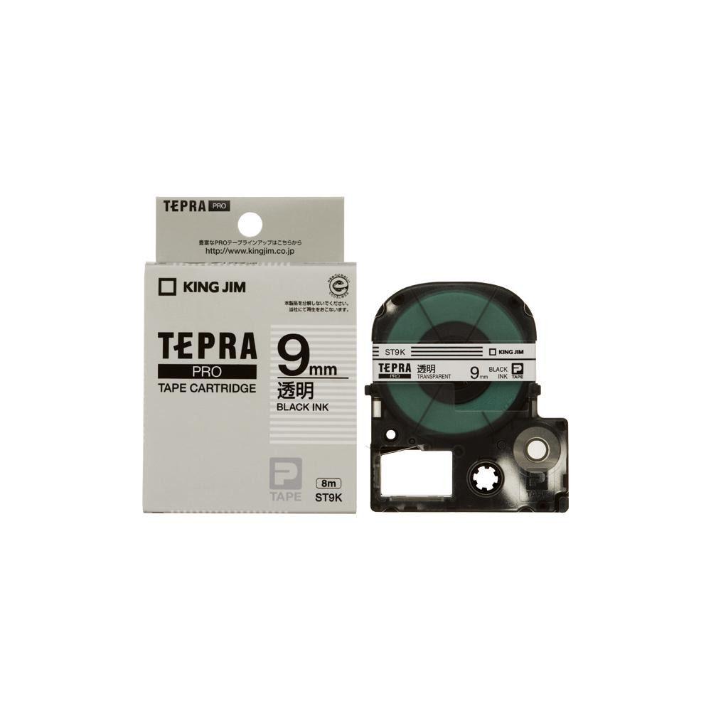 KING JIM(キングジム) 「テプラ」PROテープカートリッジ 透明ラベル 透明/黒文字 幅9mm ST9K 5個セット