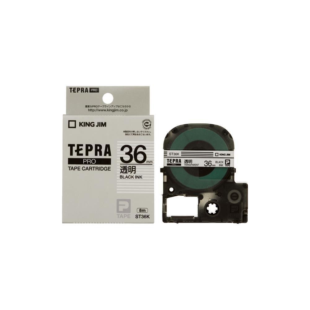 KING JIM(キングジム) 「テプラ」PROテープカートリッジ 透明ラベル 透明/黒文字 幅36mm ST36K 5個セット