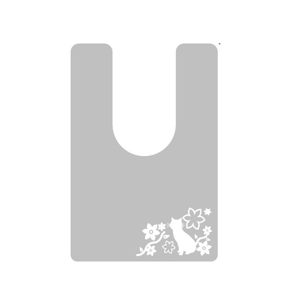 日本製 オカモトPVC使用 拭ける!トイレマット 半透明タイプ(耳長サイズ) キャット柄